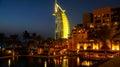 Dubai. Summer 2016. Water oasis on site Madinat Jumeirah Mina A Salam. A view of the famous hotel Burj al Arab. Royalty Free Stock Photo