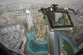 Dubai uae aerial view telescope viewer and from the height of burj khalifa Royalty Free Stock Image