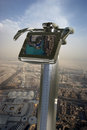 Dubai uae aerial view telescope viewer and from the height of burj khalifa Stock Photo