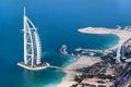 Dubai, UAE. Burj Al Arab from above Royalty Free Stock Photo