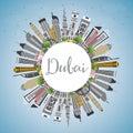 Dubai UAE City Skyline with Gray Buildings, Blue Sky and Copy Sp