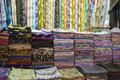 Dubai uae colorful fabrics are displayed for sale at the al naif souq in deira Stock Photography