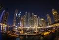 DUBAI, UAE - FEBRUARY 28: Dubai Marina at dusk.