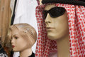 Dubai uae mannequin display of traditional men's headdress gutra at shop in bur dubai Stock Photos