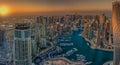 DUBAI, UAE - OCTOBER 12: Modern buildings in Dubai Marina, Dubai Royalty Free Stock Photo