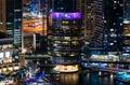 Dubai, United Arab Emirates - November 16, 2018: Pier 7 an upmarket chain of restaurants at Dubai marina night view Royalty Free Stock Photo