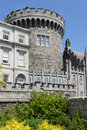 Dublin castle with big round record tower in ireland Stock Image