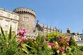 Dublin castle from dubh linn gardens on a sunny spring day ireland Stock Image