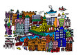 Dublin city centre a cartoon style illustration of ireland Royalty Free Stock Photo