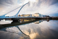 Dublin docklands samuel beckett bridge in city ireland Stock Photo