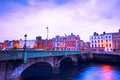 Dublin ireland april grattan bridge in on the evening of april this historic bridge spans the river liffey in Stock Photo