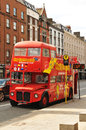 Dublin ireland march traditional sightseeing tour bus in central waits for tourist to embark Royalty Free Stock Photo