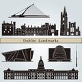Dublin landmarks and monuments on blue background in editable vector file Royalty Free Stock Photos