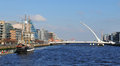 Dublin panorama of the samuel beckett bridge over the river liffey and the famous jeanie johnston tall ship Royalty Free Stock Images