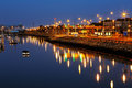 Dublin port seen from the east link toll bridge ireland july at night as on july in ireland Stock Photos