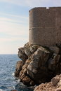Dubrovnik castle wall of strength this ocean side view gives you a sense the scale protection and security this fortress gave the Royalty Free Stock Images