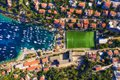 Dubrovnik, Croatia. Aerial view on the town and football stadium. Vacation and adventure. Top view from air. Royalty Free Stock Photo