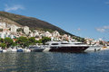 Dubrovnik croatia august new dubrovnik harbor yachts and boats in gruz Royalty Free Stock Photos