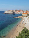 Dubrovnik croatia august old city seen from banje beach in summer Stock Photo