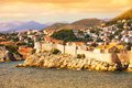 Dubrovnik fort from the sea old town of croatia at sunset Royalty Free Stock Photography