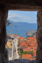 Dubrovnik Harbor from fortress walls Stock Photos