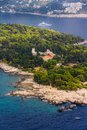 Dubrovnik lokrum island and nature park near croatia detail with benedictine monastery Royalty Free Stock Photos