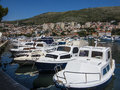 Dubrovnik marina boats moored in croatia Stock Photo