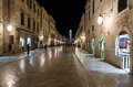 Dubrovnik at night croatia may people walking down the main street in the old town of pedestrian zone in an old european Royalty Free Stock Photo