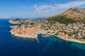 Dubrovnik old town aerial helicopter shoot of Stock Image
