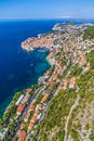 Dubrovnik old town aerial helicopter shoot of Stock Images