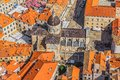 Dubrovnik old town aerial helicopter shoot of cathedral Stock Photography