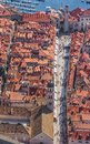 Dubrovnik old town aerial helicopter shoot of main street stradun placa full visible Stock Image
