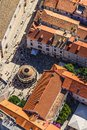 Dubrovnik old town famous onofrio fountain in inside historical city walls aerial helicopter shoot Royalty Free Stock Images