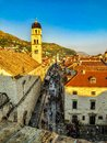 Dubrovnik Old Town During Orange Sunset From the City Walls