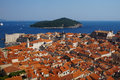 Dubrovnik old town view of and lokrum island travel brackground Royalty Free Stock Photos