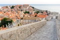 Dubrovnik wall ramparts on the west of old city with a partial view of the city Royalty Free Stock Photos