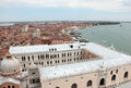 Ducal palace side view from il campanile di san marco venice italy which is located at the eastern end of the piazza san marco and Royalty Free Stock Photography