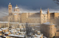 The ducal palace of Urbino under winter storm Royalty Free Stock Photo