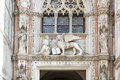 Ducal palace in venice italy sculpture on west facade of doge s Stock Photos