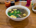 Duck blood and bean starchy vermicelli soup is famous delicacy in nanjing even in china one mouthful drink of the hot gives Stock Image