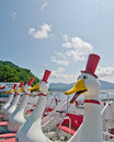 Duck boats on Lake Toya, Hokkaido, Japan Royalty Free Stock Photography