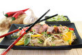 Duck breast with fried noodles Stock Photos