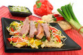 Duck breast with fried noodles Royalty Free Stock Photo