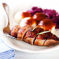 Duck breast with potato dumplings and red cabbage Royalty Free Stock Photo