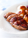 Duck breast with potato dumplings and sauce Royalty Free Stock Photo