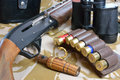Duck call ammo and gun Royalty Free Stock Photo