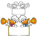 Duck couple characters to promote bird selling bird character d design series Royalty Free Stock Image