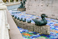 Duck and ducklings sculpture in moscow russia Stock Photo