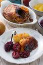 Duck with dumplings and pickled plum a tasty Stock Images