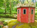 The duck house at Vale dos Lagos or Valley of the Lakes at Pena Park in Sintra, Portugal Royalty Free Stock Photo